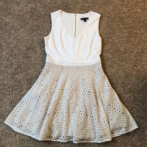 Fun eyelet white and cream fit and flare dress
